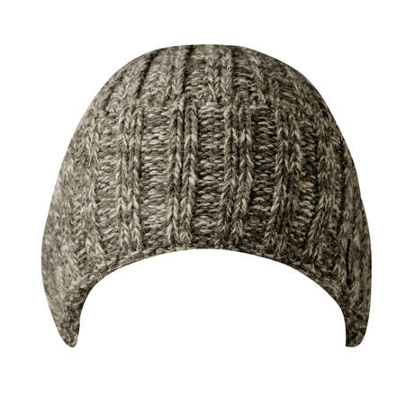 knitted gray hat isolated on a white background.fashion hat accessory for casual style