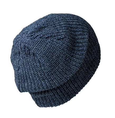 knitted dark blue hat isolated on a white background.fashion hat accessory for casual style
