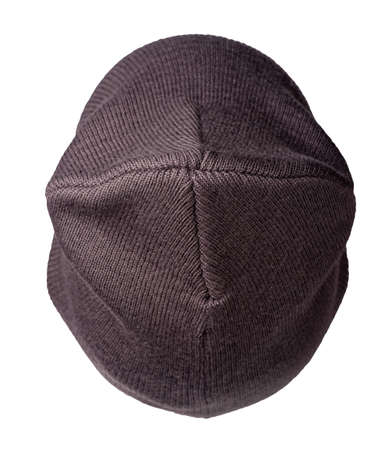 Women's dark brown hat. knitted hat isolated on white background.