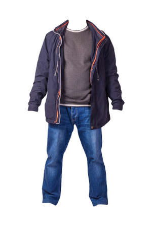 dark blue jacket with zipper, gray sweater and blue jeans isolated on white background. casual fashion clothes