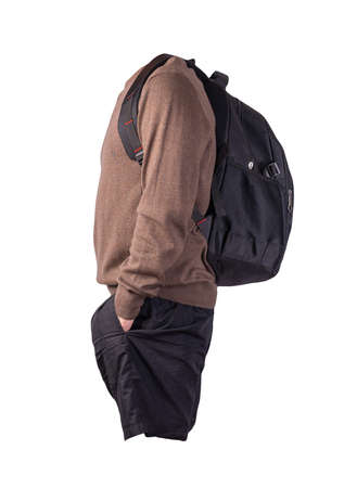 black backpack, black shorts, brown sweater isolated on white background. casual wear