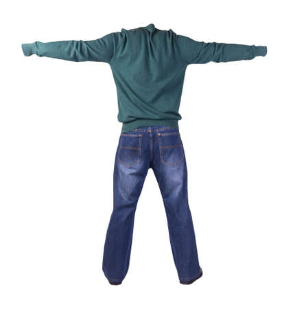 dark blue jeans, black leather shoes, dark green sweater isolated on white background. Casual style