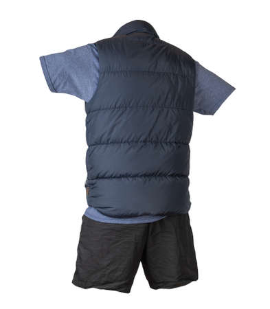dark blue sleeveless jacket, vintage heather navy t-shirt and sports shorts isolated on white background. Valid clothes for cool weather