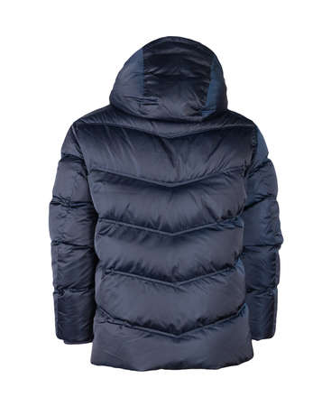 men's winter dark blue down jacket with a hood isolated on a white background. fashionable clothes for every day