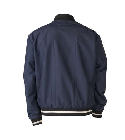 mens dark blue bomber jacket isolated on white background. fashionable clothes for every day Standard-Bild