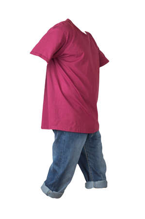 denim dark blue shorts and burgundy t-shirt isolated on white background. men's jeans orders Banco de Imagens