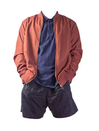 men's dark red bomber jacket, dark blue shirt and black sports shorts isolated on white background. fashionable casual wear