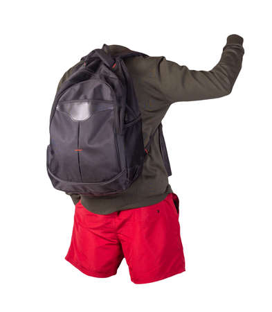 black backpack, red shorts, dark green summer knitted bomber jacket isolated on white background. casual wear