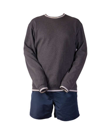 gray sweatshir and dark blue sports shorts isolated on a white background. casual sportswear