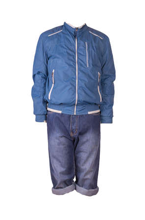 Denim dark blue shorts and windbreaker jacket with zipper isolated on white background. Men's jeans Banco de Imagens
