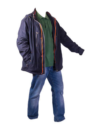 dark blue jacket with zipper, green shirt and blue jeans isolated on white background. casual fashion clothes
