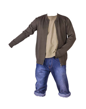 Denim blue shorts, beige t-shirt and dark green bomber jacket on a zipper isolated on white background