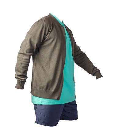 men's dark green knitten bomber jacket, green shirt and dark blue sports shorts isolated on white background. fashionable casual wear
