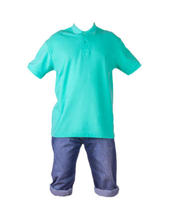 denim dark blue shorts and green t-shirt with a collar on buttons isolated on white background. men's jeans orders Banco de Imagens