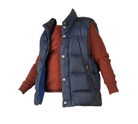 dark blue sleeveless jacket and burgundy sweater isolated on white background. casual wear