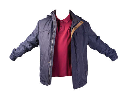 men's dark red t-shirt and blue jacket isolated on white background.casual clothing