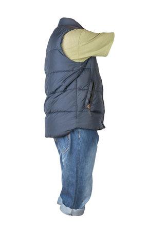 denim dark blue shorts, t-shirt and dark blue jacket without sleeves isolated on white background Banco de Imagens