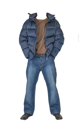 dark blue jeans, green sweater, dark blue down jacket with a hood and black leather shoes isolated on white background. Casual style