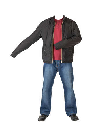 dark blue jeans, dark red t-shirt with a collar on buttons, black jacket and black leather shoes isolated on white background Banco de Imagens
