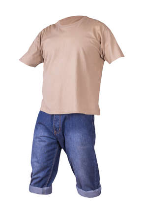 denim dark blue shorts and beige t-shirt isolated on white background. men's jeans orders
