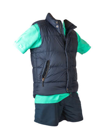 Dark blue sleeveless jacket, green t-shirt with collar on buttons and dark blue sports shorts, isolated on white background. Current clothes for cool weather Banco de Imagens