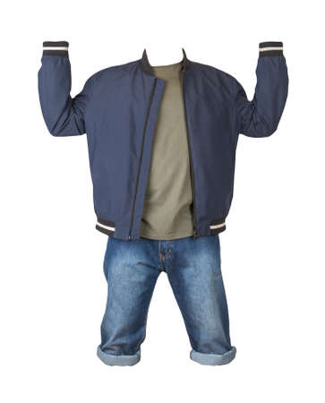Denim blue shorts, olive t-shirt and dar blue bomber jacket on a zipper isolated on white background
