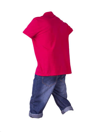 denim dark blue shorts and red t-shirt with a collar on buttons isolated on white background. men's jeans orders