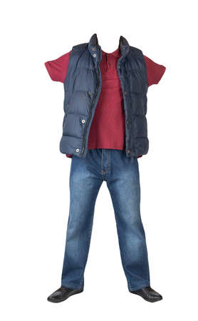 dark blue sleeveless jacket, dark blue jeans, dark red t-shirt with collar on buttons and black leather shoes isolated on white background