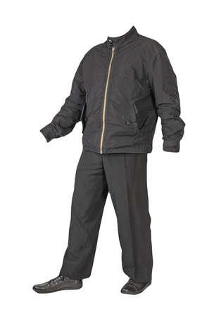 men's black jacket, black pants and black leather shoes isolated on white background. men's autumn clothes Banco de Imagens