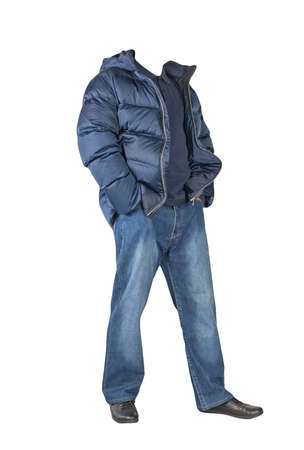 dark blue jeans, dark blue t-shirt with a collar on buttons, dark blue down jacket with hoodand and black leather shoes isolated on white background Banco de Imagens