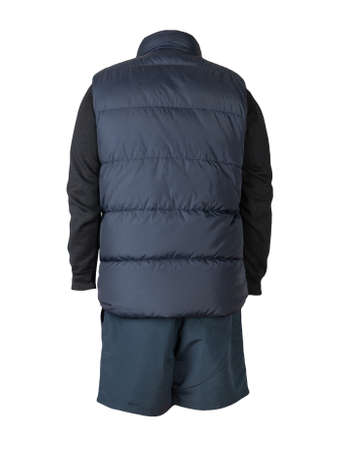 Dark blue sleeveless jacket, black sweater and dark blue sports shorts isolated on white background. clothes for every day Banco de Imagens