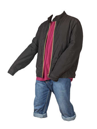 Denim blue shorts, burgundy t-shirt and black jacket on a zipper isolated on white background