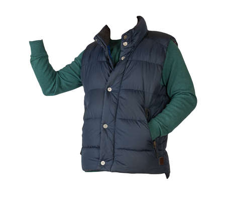 dark blue sleeveless jacket and green sweater isolated on white background. casual wear
