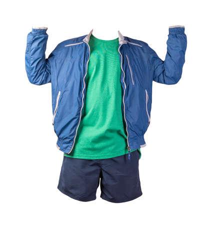 mens blue white windbreaker jacket, retro heather green t-shirt and dark blue sports shorts isolated on white background. fashionable casual wear