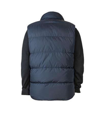 dark blue sleeveless jacket and black sweater isolated on white background. casual wear