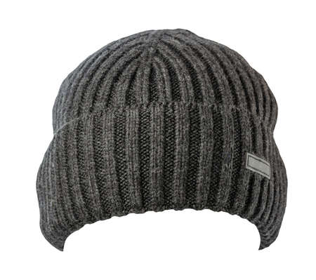 knitted dark gray hat isolated on a white background.fashion hat accessory for casual style