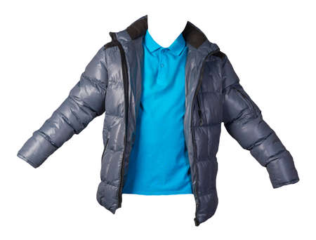 men's blue t-shirt and blue jacket isolated on white background.casual clothing Banco de Imagens