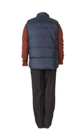 dark blue sleeveless jacket, black pants, dark red sweater and black leather shoes on white background Banco de Imagens