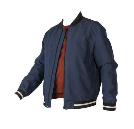 dark blue bomber jacket and dark red sweater isolated on white background Banco de Imagens