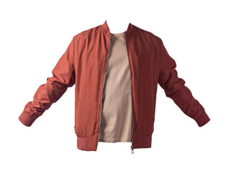 men's dark red bomber jacket and beige t-shirt isolated on a white background. fashionable casual wear Banco de Imagens