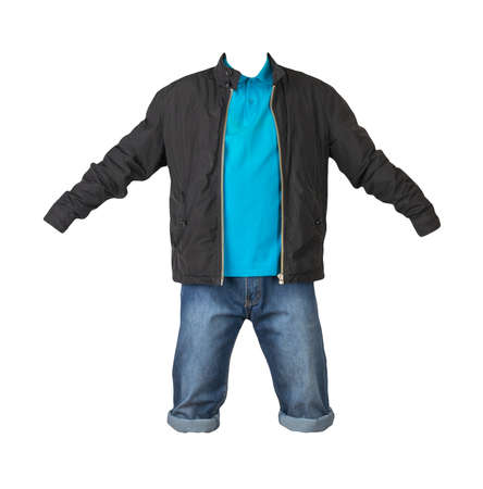 Denim dark blue shorts, blue t-shirt with collar on buttons and black jacket on a zipper isolated on white background Banco de Imagens