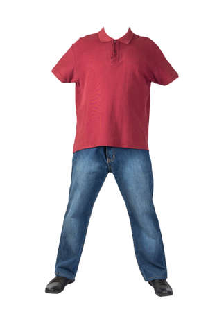 dark blue jeans, black leather shoes, darkred t-shirt with a collar on buttons isolated on white background. Casual style