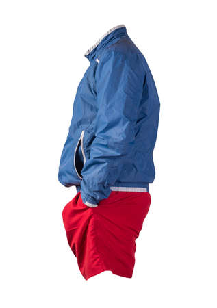 mens blue white jacket and red sports shorts isolated on white background. fashionable casual wear Banco de Imagens