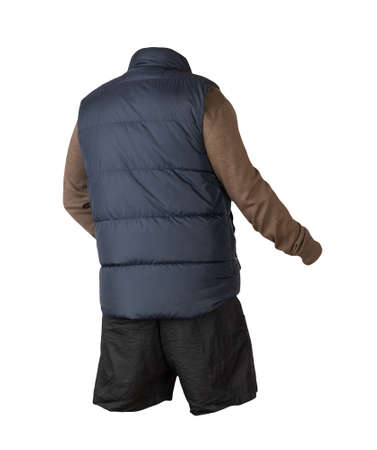 Dark blue sleeveless jacket, brown sweater and black sports shorts isolated on white background. clothes for every day