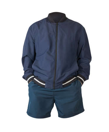 mens dark blue bomber jacket and dark blue sports shorts isolated on white background. fashionable casual wear