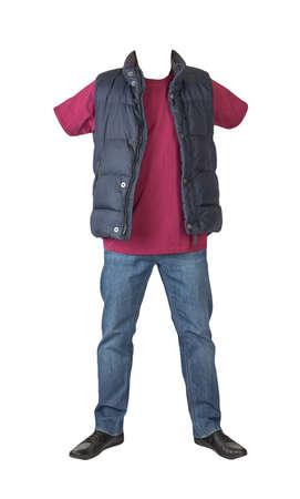 dark blue sleeveless jacket, dark blue jeans, burgundy t-shirt and black leather shoes isolated on white background