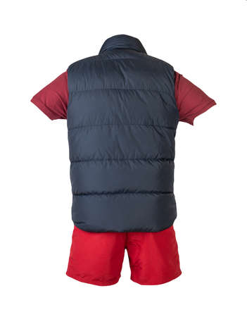 Dark blue sleeveless jacket, dark red t-shirt with collar on buttons and red sports shorts, isolated on white background. Current clothes for cool weather Banco de Imagens