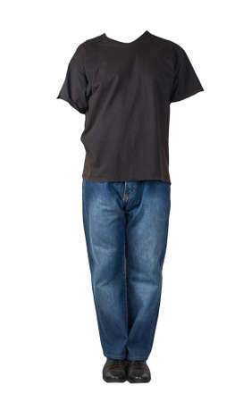 dark blue jeans, black leather shoes, black t-shirt isolated on white background. Casual style