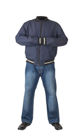 dark blue jeans, black leather shoes, dark blue jacket bomber isolated on white background. Casual style