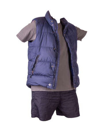 dark blue sleeveless jacket, dark gray t-shirt and black sports shorts isolated on white background. Valid clothes for cool weather